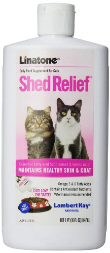 Lambert Kay Linatone Shed Relief Skin and Coat Liquid Supplement for Cats, 16-Ounce