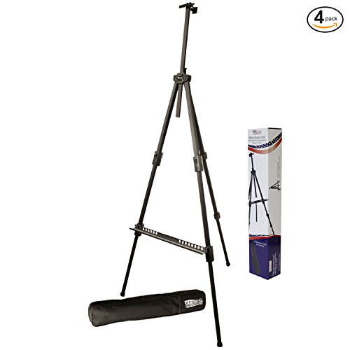 Display Pod - US Art Supply Huntington (Large) 72 Inches Tall Aluminum Tripod Field and Display Easel-Extra Sturdy Premium Metal Construction with Carry Bag (4-Easels)
