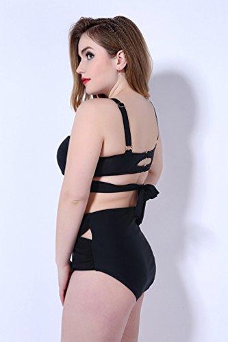 Baymate Mujer Talla Grande Color Puro Bikini Cintura Alta Traje De Baño Bañador Negro