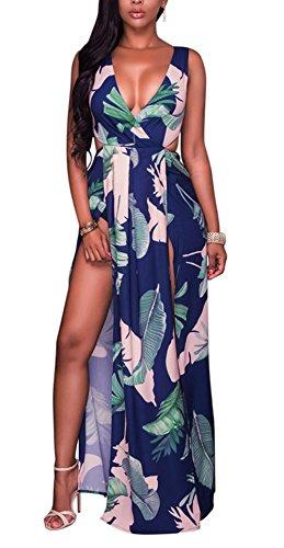 Stampa Spiaggia Partito Lungo Maxi Da Vestito Sexy Floreale Maniche Marina Boho Senza Donne Foglio Vestito Coprire Spacco Bluewolfsea Dal 1RpqBx