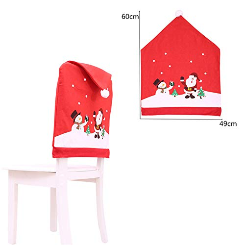 - FANRENYOU 1Pcs Santa Claus Cap Dinner Table Party Red Hat Chair Back Covers Santa Clause Snowman one Size