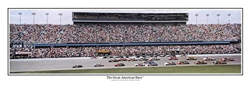 2003 Deluxe Framed - 2003 Daytona The Great American Race 13.5x39 Panoramic Poster. Frame Dimensions 15.5x41 Deluxe Brown