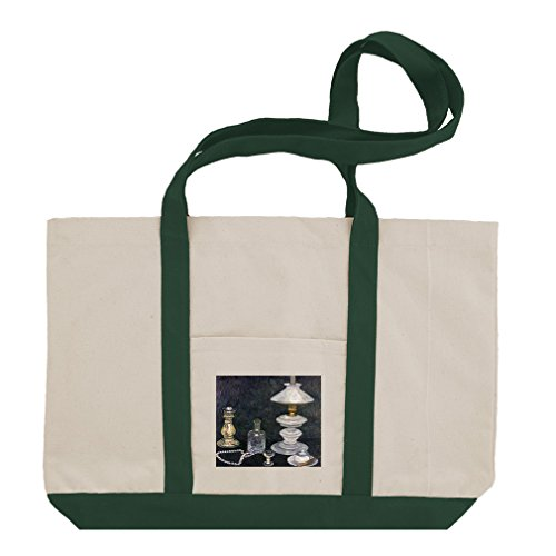 Still Life Peonies Oranges (Modersohn) Cotton Canvas Boat Tote Bag - Green (Peony Still Life)