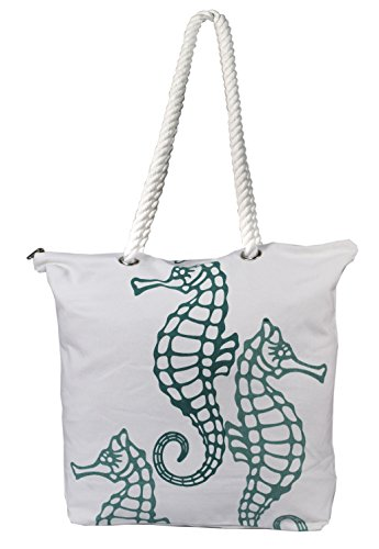 Peach-Couture-Premium-Cotton-Canvas-Beach-Handbags-Nautical-Seahorse-Design-Bag