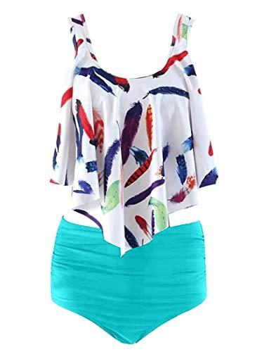 iNewbetter Women Retro Flounce High Waisted Bikini Floral Two Piece Swimsuit with High Waist Bottom IB14 204 Light Blue M ()
