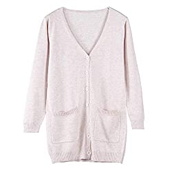 Spring Autumn Wool Cashmere Sweater Fashion Medium Long Loose Sweaters For Female Outerwear Coat With Pockets Wisdom Beige