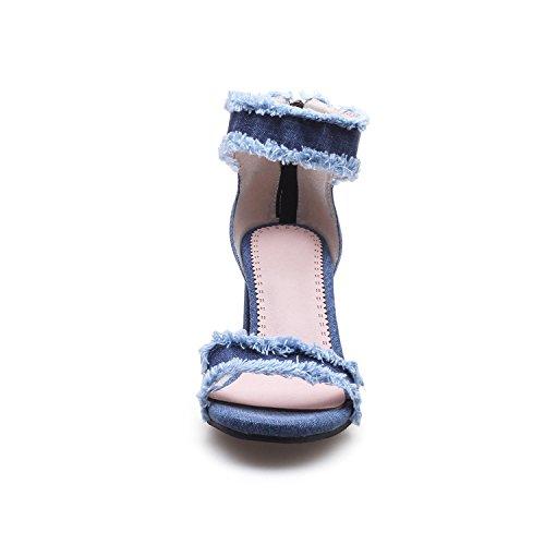Odetina Mujer Vaquera Punta para Cómodas de Azul Tobillo Tacones Gruesos con de Sandalias SrExfqwgS