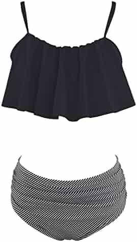 3f772fa5473 Zando Women High Waist Swimsuit Ruffled Flounce Two Piece Bathing Suit for  Women Black L (
