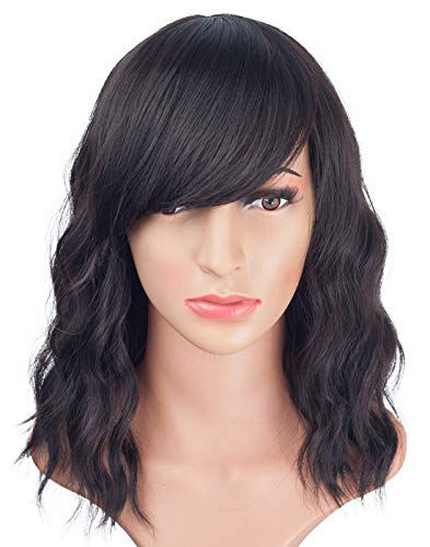 Natural Looking Short Wavy Wigs With Side Bangs for Black Women Realistic Synthetic Shoulder Length Curly Wigs With layers Fringe For Daily Use Wig(Dark - Layer Synthetic Curly Wig