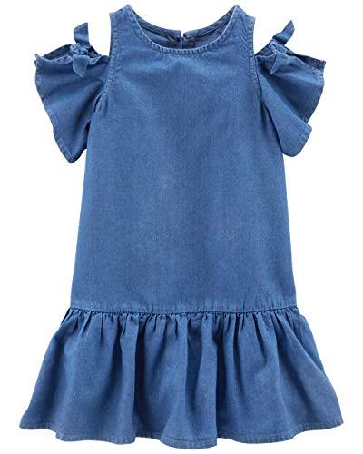 Carter's Little Girls' Denim Cold Shoulder Dress (3T, Blue)