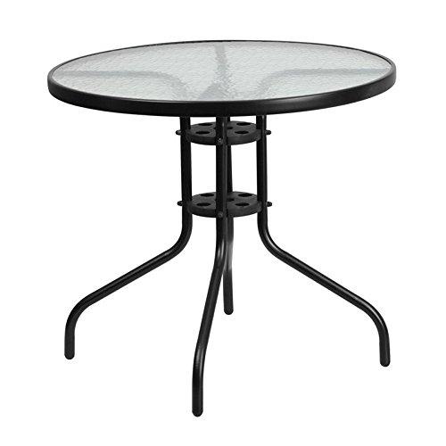 Skovde Round 31.5'' Tempered Glass Metal Table, 28''H