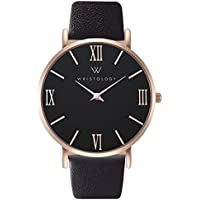 Stella Womens Roman Rose Gold Black Face Boyfriend Watch Black Leather Changeable Strap Band