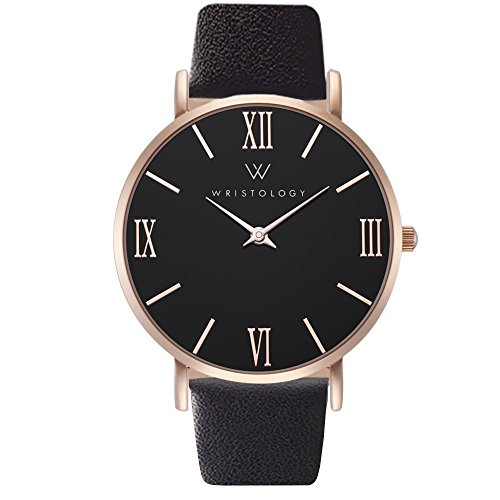 WRISTOLOGY Stella Womens Roman Rose Gold Black Face Boyfriend Watch Black Leather Changeable Strap Band