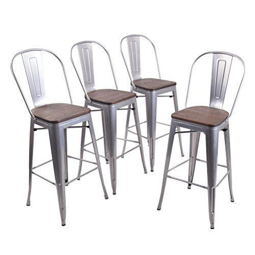 Andeworld Set of 4 Tolix-Style Counter Height Bar Chairs Industrial Metal Bar Stools Indoor-Outdoor, (High Back Silver Wooden, 30 Inch)