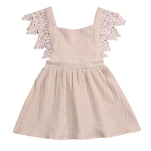 KONIGHT Baby Girls Embroidered Ruffle Sleeveless Pinafore Dress Toddler Kids Country Rustic Outfit (Beige, 12-18 Months)