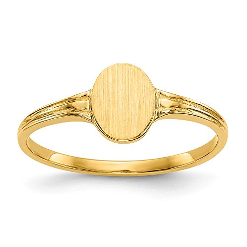 14k Yellow Gold Signet Band Ring Size 3.00 Fine Jewelry Gifts For Women For Her ()