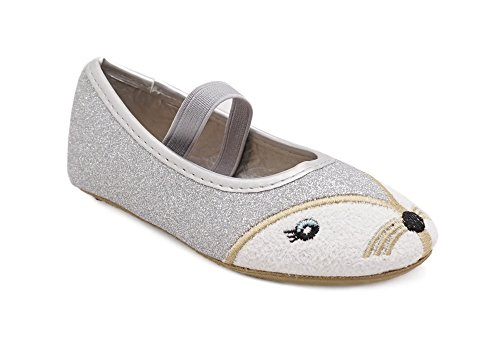 Simply Petals Toddler Little Girls Animal Dress Shoes - Sparkle Glitter Ballet Flats (6 Toddler, Silver)