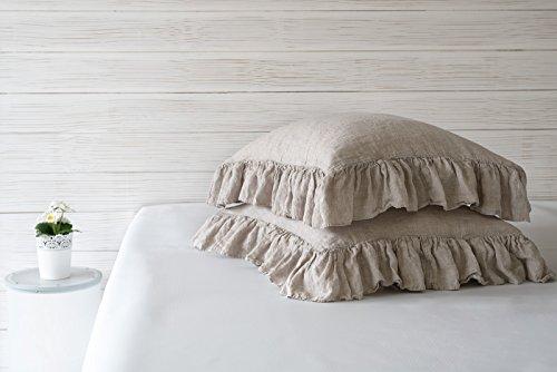 (BEALINEN Ruffled Linen Pillowcases Shams (2pcs) with Ties Standard Size 20