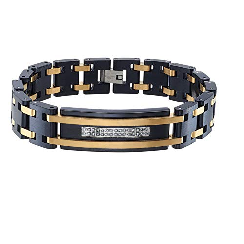 AX Jewelry Mens 1/6ct Diamond Bracelet in Black & Yellow Stainless Steel