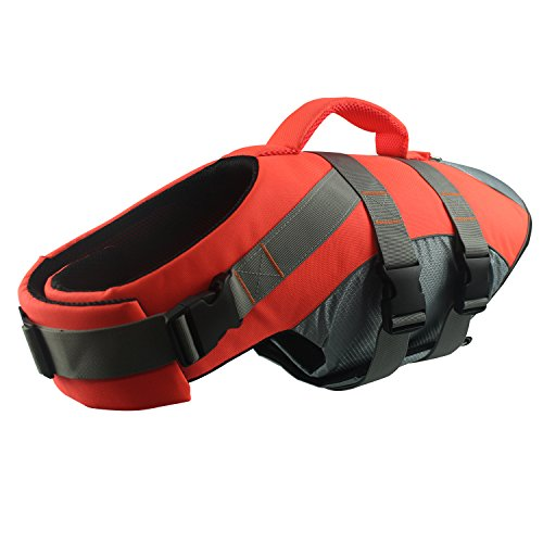 HOLDOOR Sports Style Dogs' Life Jacket with Rescue Handle and Reflective Trim - for Small, Medium and Large Breeds - Adjustable, Buoyant, Abrassion-Resistant, Ripstop