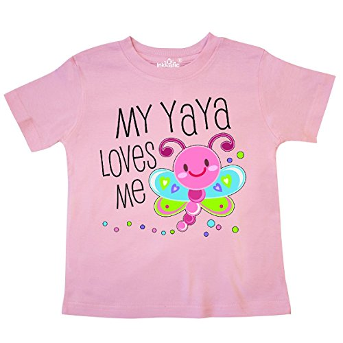 inktastic - My Yaya Loves Me- Cute Dragonfly Toddler T-Shirt 3T Pink 30600