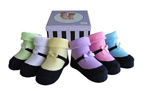 Cotton Keepsake (Baby Emporio-Baby Girl Socks-Shoe Look-6 Pairs-Anti Slip-Cotton-Keepsake Box)