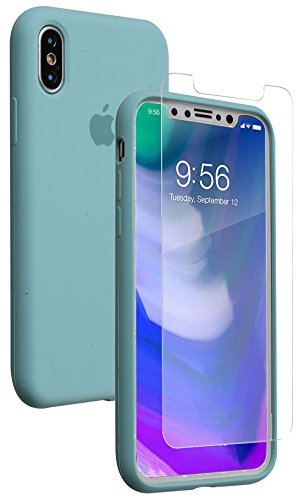 iPhone X Case, Soft Liquid Silicone Phone Case with [Free Tempered Transparent Glass Screen Protector] Gel Rubber Shockproof Cover Full Protective Case for Apple iPhone X (Soft Liquid)