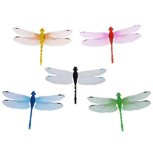Fridge Magnet - 5pcs 8cm 3d Artificial Dragonflies Luminous Fridge Magnet Wedding Decoration Colors Randomly Send - Healing Sticks Magnetic Door Adult Science Bulletin Screen Toddlers Offi ()