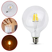 E26 E27 Base 6W 110V 500LM Dimmable, G95 Global LED Edison Light Bulb, Globe Filament Lamp Warm White 2700K, Equivalent to 50W Incandescent Light for Indoor Decorations ,1 Pack