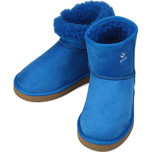 Stivaletti Da Donna In Pelliccia Dinverno Con Neve Scamosciata Blu Faux Premium