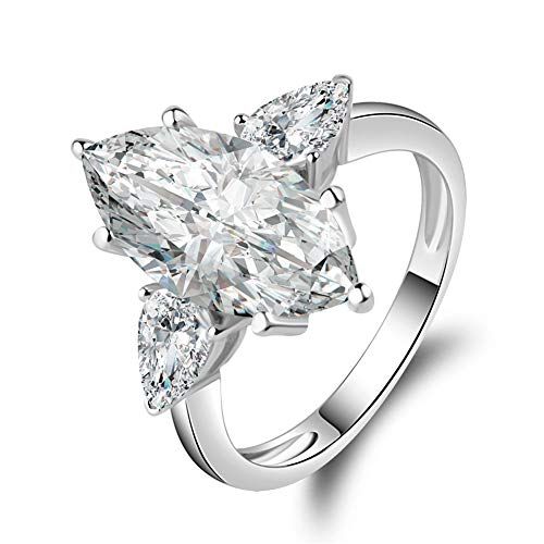 Erllo 5.5 Carat Marquise Cut Sona Diamond Cubic Zirconia CZ 3 Stone Engagement Wedding 925 Sterling Silver Rings (7) ()