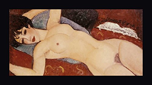 "Reclining Nude by Amedeo Modigliani - 7""x14"" Framed Giclee Canvas Art Print - Ready to Hang"