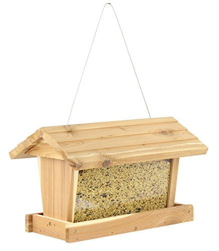 Gardirect Log Cabin Cedar Bird Feeder, 3.5-Pound Capacity