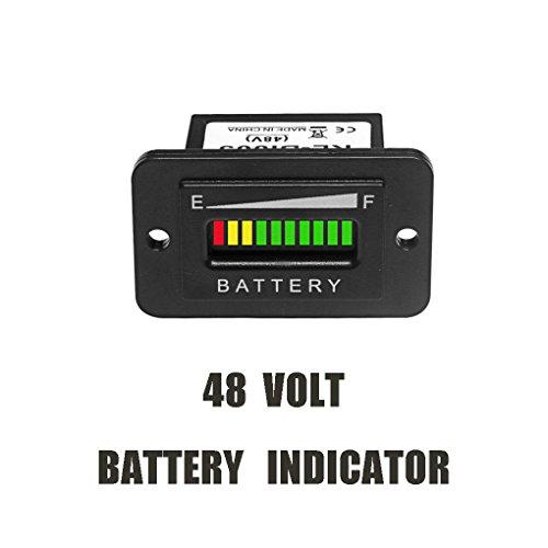 WeiLiQi 48V Volt Black LED Battery Indicator Meter Gauge Charge Discharge Testers for Lead-acid Battery Motorcycle Golf Cart Car Jet Ski EZGO Club Car Yamaha Rectangle by WeiLiQi