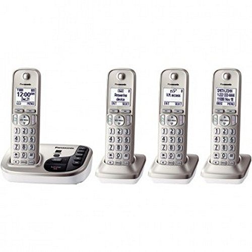 PANASONIC KX-TGD224N DECT 6.0 Plus Expandable Digital Cordless Answering System (4-Handset System) - ONE YEAR Warranty by Panasonic