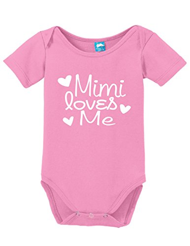 Mimi Loves Me Printed Infant Bodysuit Baby Romper Pink 0-3 Month -