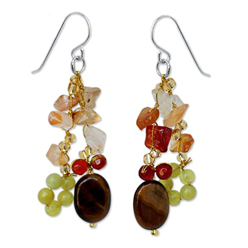 NOVICA .925 Sterling Silver Tiger's Eye, Quartz and Carnelian Stone Cluster Earrings, Thai Autumn' Carnelian Tigers Eye Earrings