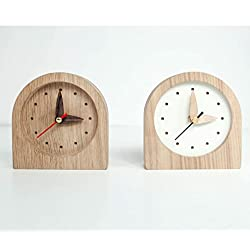 Small Wooden Clock - 2 colors available White or Natural Wood Color - Oak Wood Mini Clock - Desk Mini Clock - Night Table Clock - Father Day Gift - Office Desk Clock -Rustic Table Clock