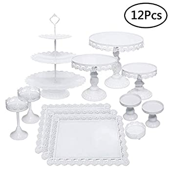 Image of Home and Kitchen Set of 12 Pieces Cake Stands Iron Cupcake Holder Fruits Dessert Display Plate White for Baby Shower Wedding Birthday Party Celebration Home Decor Serving Platter (12Pcs Cake Stands)