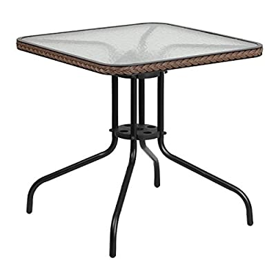 """Flash Furniture 28'' Square Tempered Glass Metal Table with Dark Brown Rattan Edging , Clear/Dark Brown Rattan - TLH-073R-DK-BN-GG - Patio Table Top Size: 28"""" Square Base Size: 25.5""""W - patio-tables, patio-furniture, patio - 41wangdQ81L. SS400  -"""
