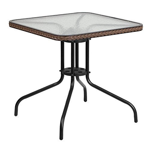 Flash Furniture 28'' Square Tempered Glass Metal Table with Dark Brown Rattan Edging (Glass Patio Furniture Replacement)