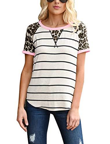 Hilltichu Women's Leopard Stripe Short Sleeve Tees T-Shirt Casual Round Neck Tops Black