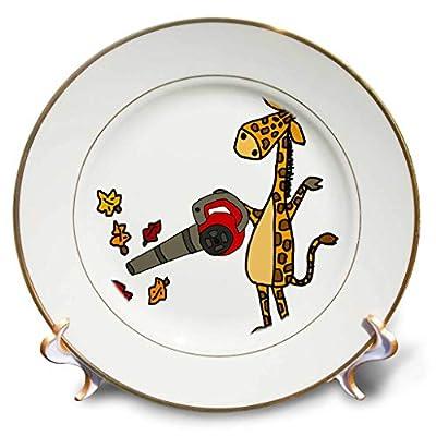3dRose All Smiles Art - Funny - Cute Funny Unique Giraffe Using Leaf Blower Cartoon - Plates