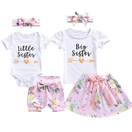 Big/Little Sister 3PCS Baby Girl Romper Newborn Jumpsuit Bodysuit +Pants Shorts+Headband Outfit Set -