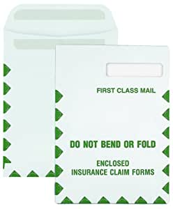Columbian CO752 9x12-1/2-Inch Right Window Grip-Seal Security Tinted First Class Mail White Envelopes, 100 Count