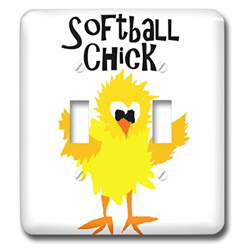 3dRose lsp_255648_2 Funny Cute Chick Softball Player Toggle Switch