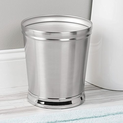 mDesign Decorative Round Small Trash Can Wastebasket, Garbage Container Bin for Bathrooms, Powder Rooms, Kitchens, Home Offices - Durable Steel with Brushed Body and Polished base