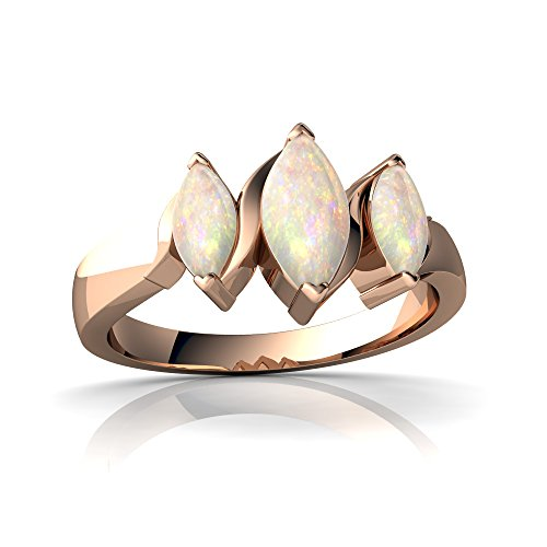 14kt Rose Gold Opal 6x3mm Marquise Three Peeks Ring - Size ()