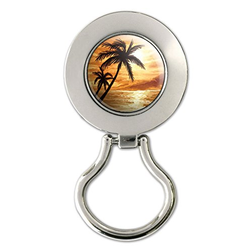 Orange Beach Sunset - Ocean Palm Tree Vacation Paradise Magnetic Metal Eyeglass Badge Holder
