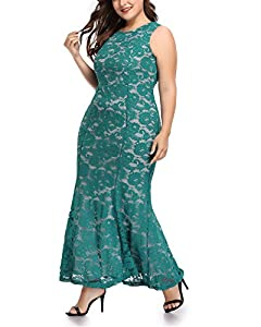 Women's Plus Size Floral Lace Sleeveless Fishtail Wedding Formal Maxi Dress